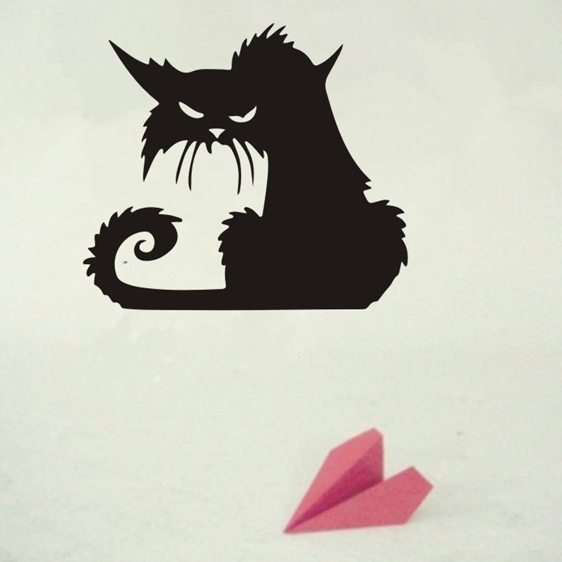 Halloween Scary Black Cat Wall Sticker Removable Vinyl Decal Window Decor 15x13