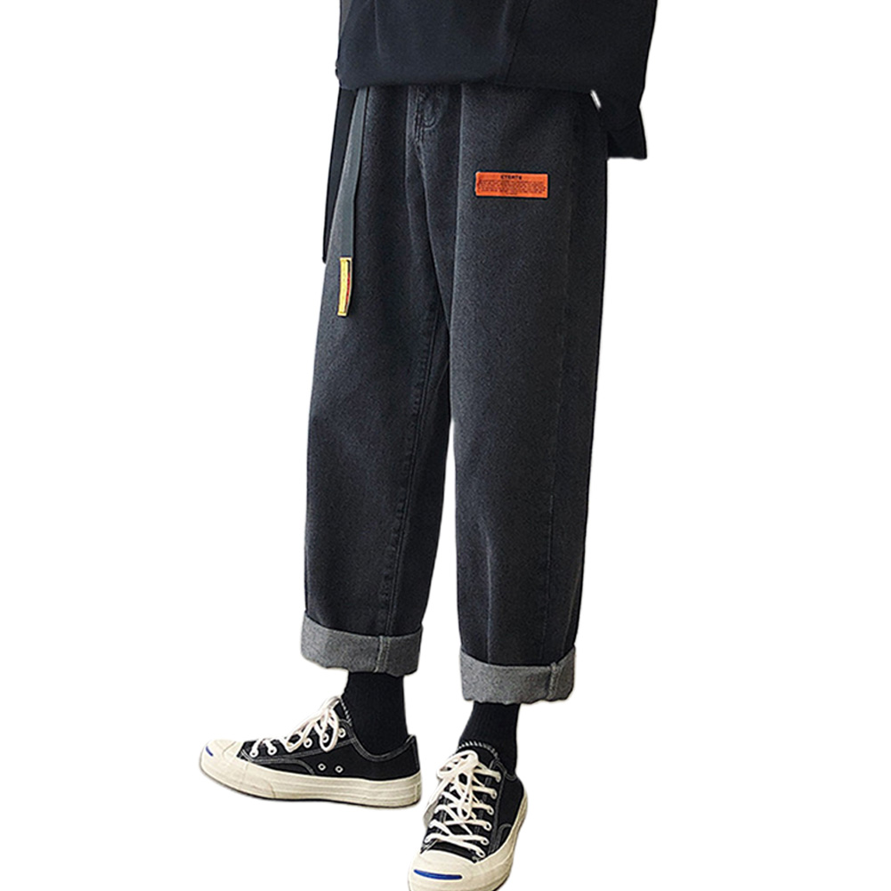 Men Jeans Denim Pants Label Decoration Straight Bottom Loose Casual Male Trousers  Black_M