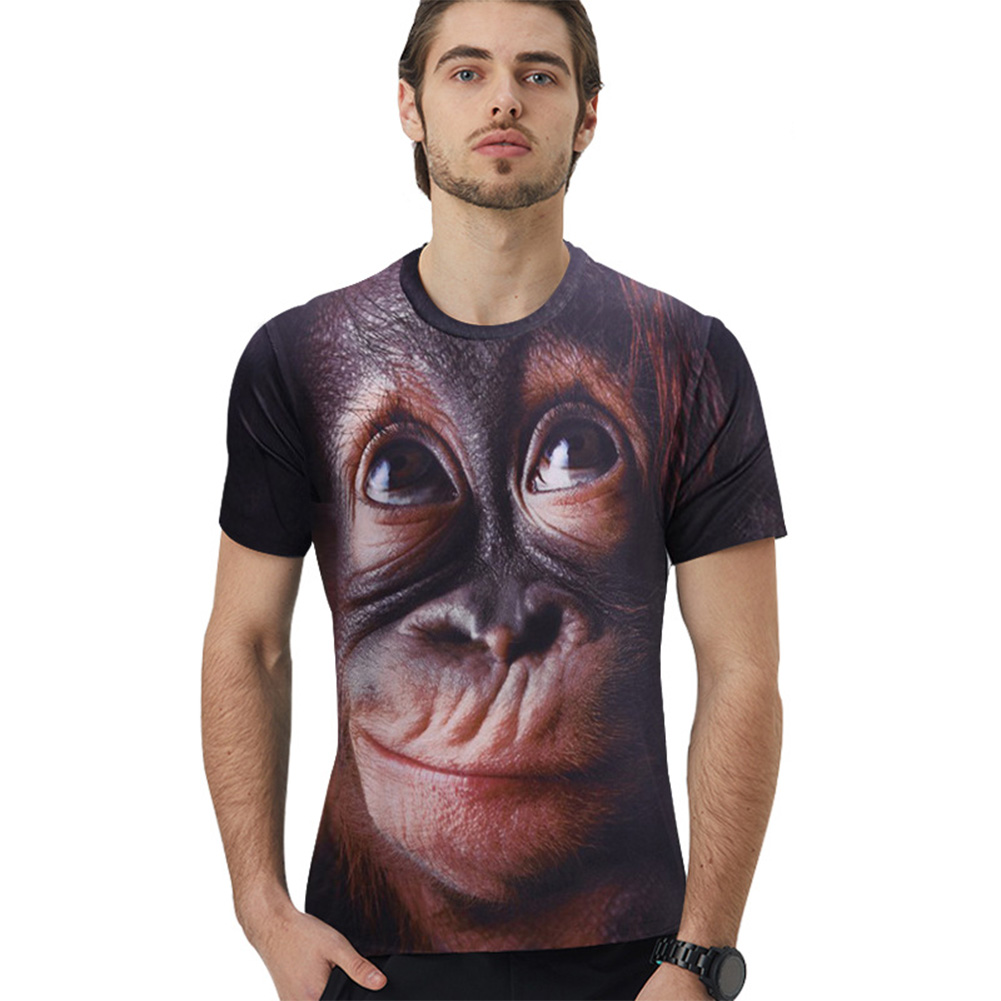 Unisex Shirt Funny Monkey Gorilla 3D Digital Printing Loose Round Neck Short Sleeves T-shirt for Women Men XK-10143T_L