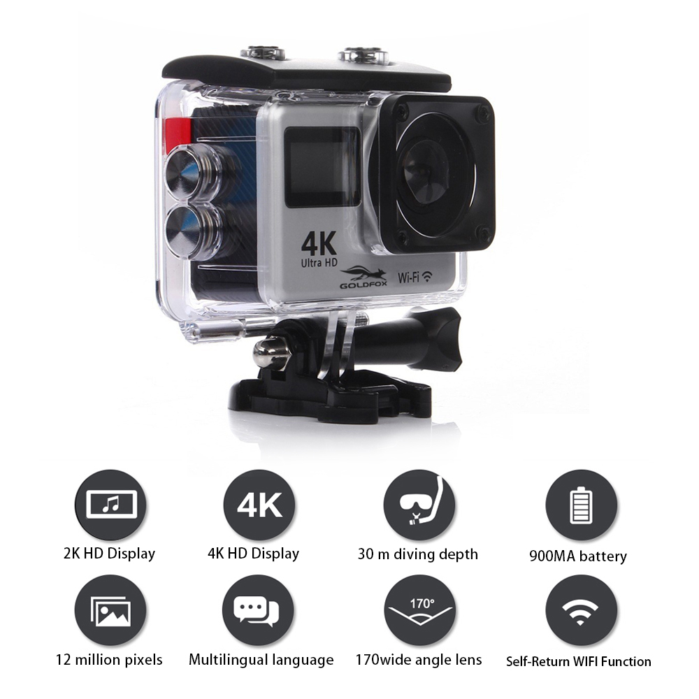 Touch Dual Screen Ultra HD 4K WiFi Sports Action Camera 1080P Waterproof Sports DV Bike Helmet Camera Silver_EU Plug