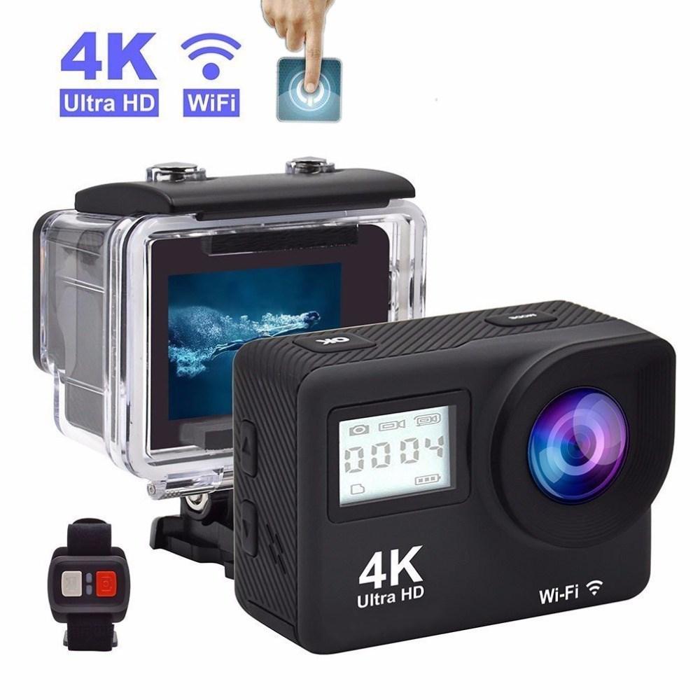Touch Dual Screen Ultra HD 4K WiFi Sports Action Camera 1080P Waterproof Sports DV Bike Helmet Camera black_EU Plug