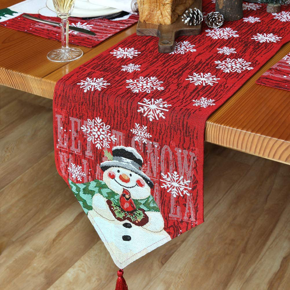 Christmas  Table  Runner Cotton Linen Snowman Embroidered Table Flag Family Table Decoration Christmas Table Cloth New Christmas snowman table runner