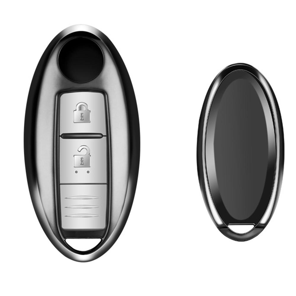 Car Key Case TPU 3 Buttons Key Cover Auto Key Bag for Nissan Black