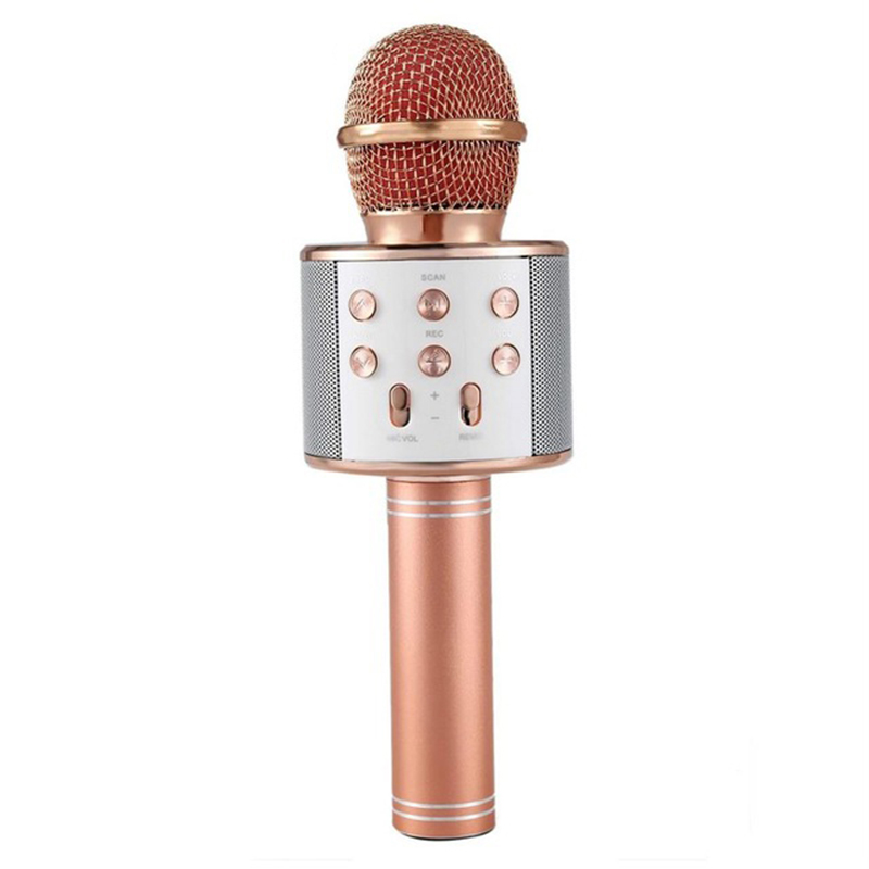 Bluetooth Wireless Microphone Handheld Karaoke Mic USB KTV Player Bluetooth Speaker Record Music Microphones  Rose gold