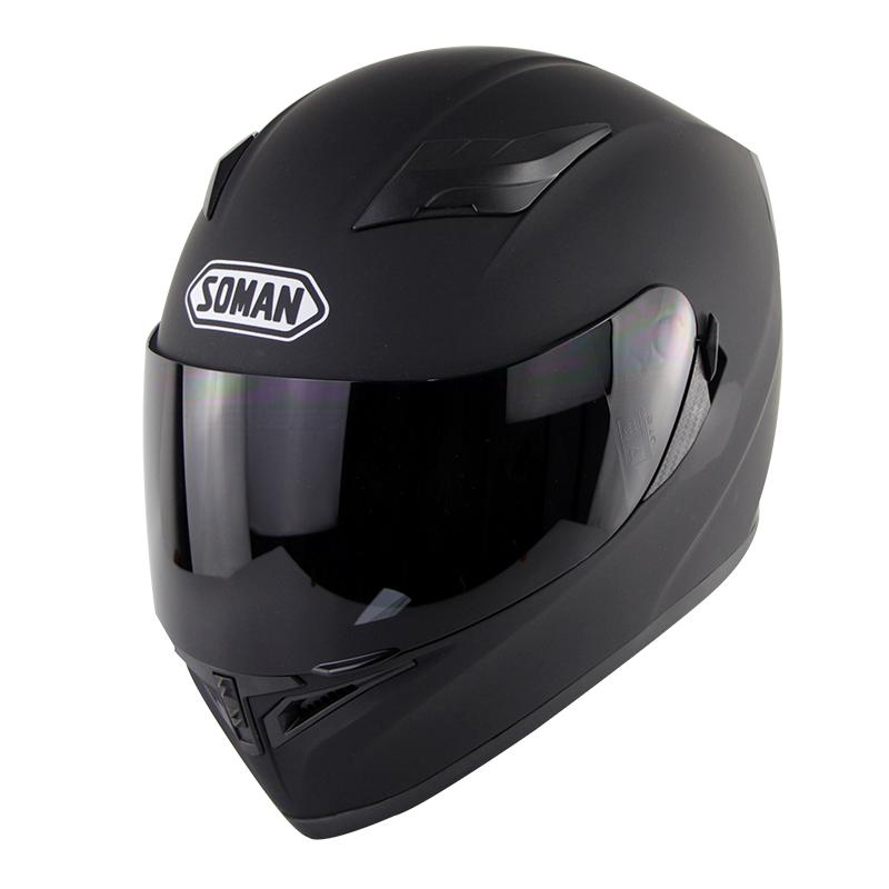 Motorcycle Helmet Men Women Full Face Helmet Moto Riding Motocross Motorbike Helmet  Matte black with tea lens_L