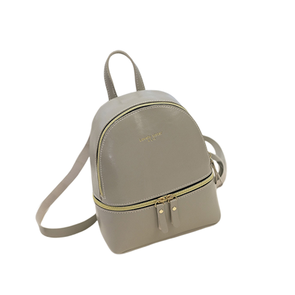 Woman Fashion  Leisure Handbag Chic Backpack PU light gray