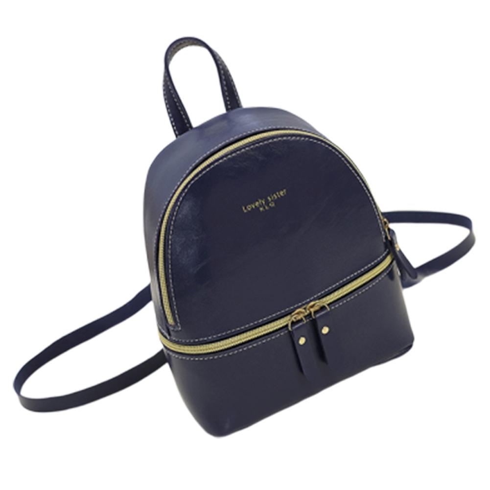 Woman Fashion  Leisure Handbag Chic Backpack PU blue
