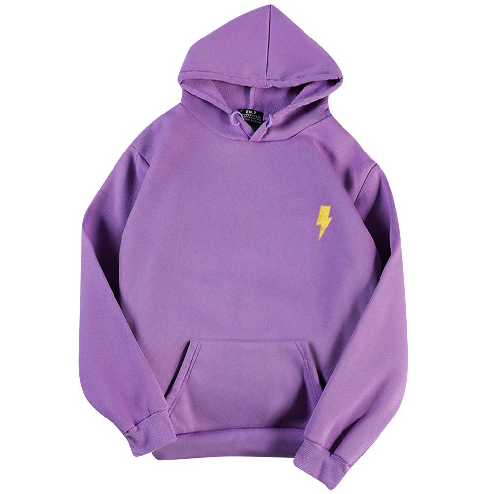 Men Women Hoodie Sweatshirt Flash Thicken Velvet Loose Autumn Winter Pullover Tops Purple_XL
