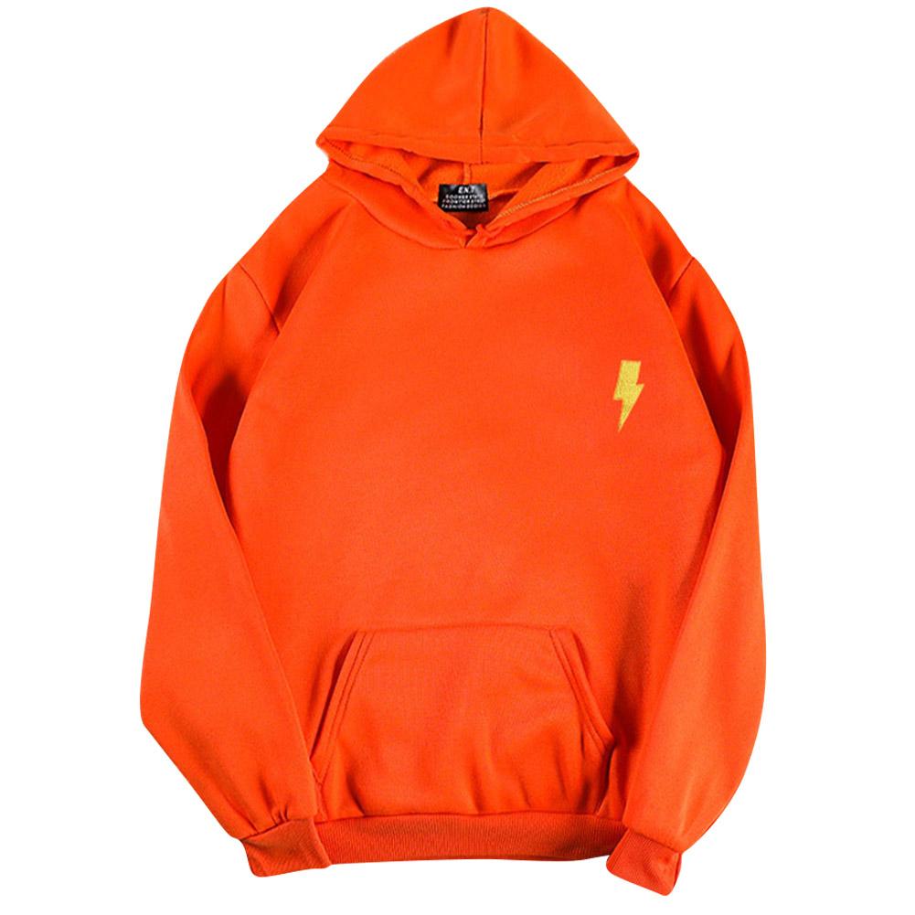 Men Women Hoodie Sweatshirt Flash Thicken Velvet Loose Autumn Winter Pullover Tops Orange_S