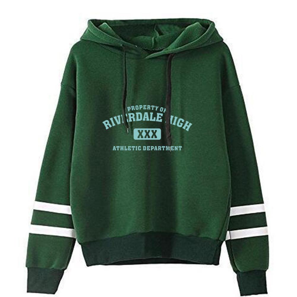 Men Women American Drama Riverdale Fleece Lined Thickening Hooded Sweater Green A_L