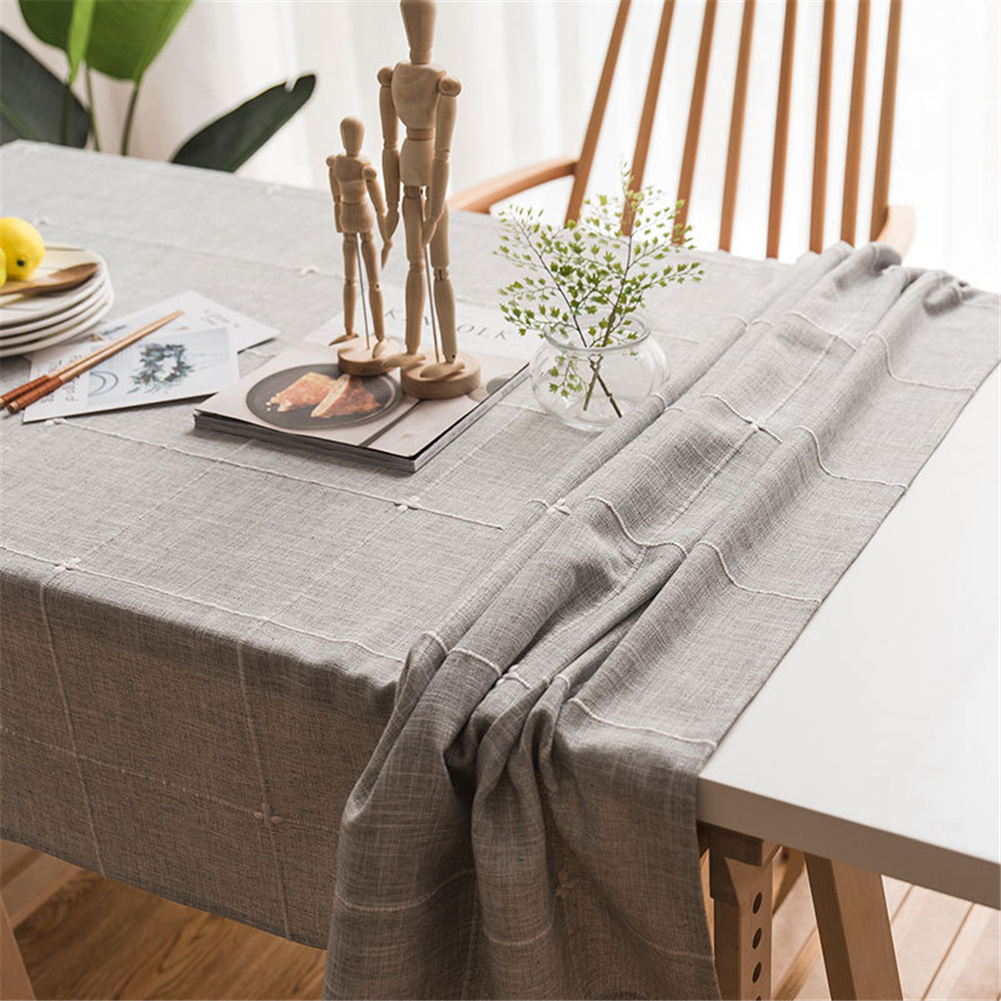 Cotton Embroidery Plaid Tablecloth Table Cover For Home Party Resturant Grey_135*160cm