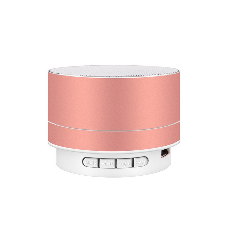 Wirelesss LED Glowing Bluetooth Receiver Hands-free Music Player Metal Bluetooth Speaker Rose gold