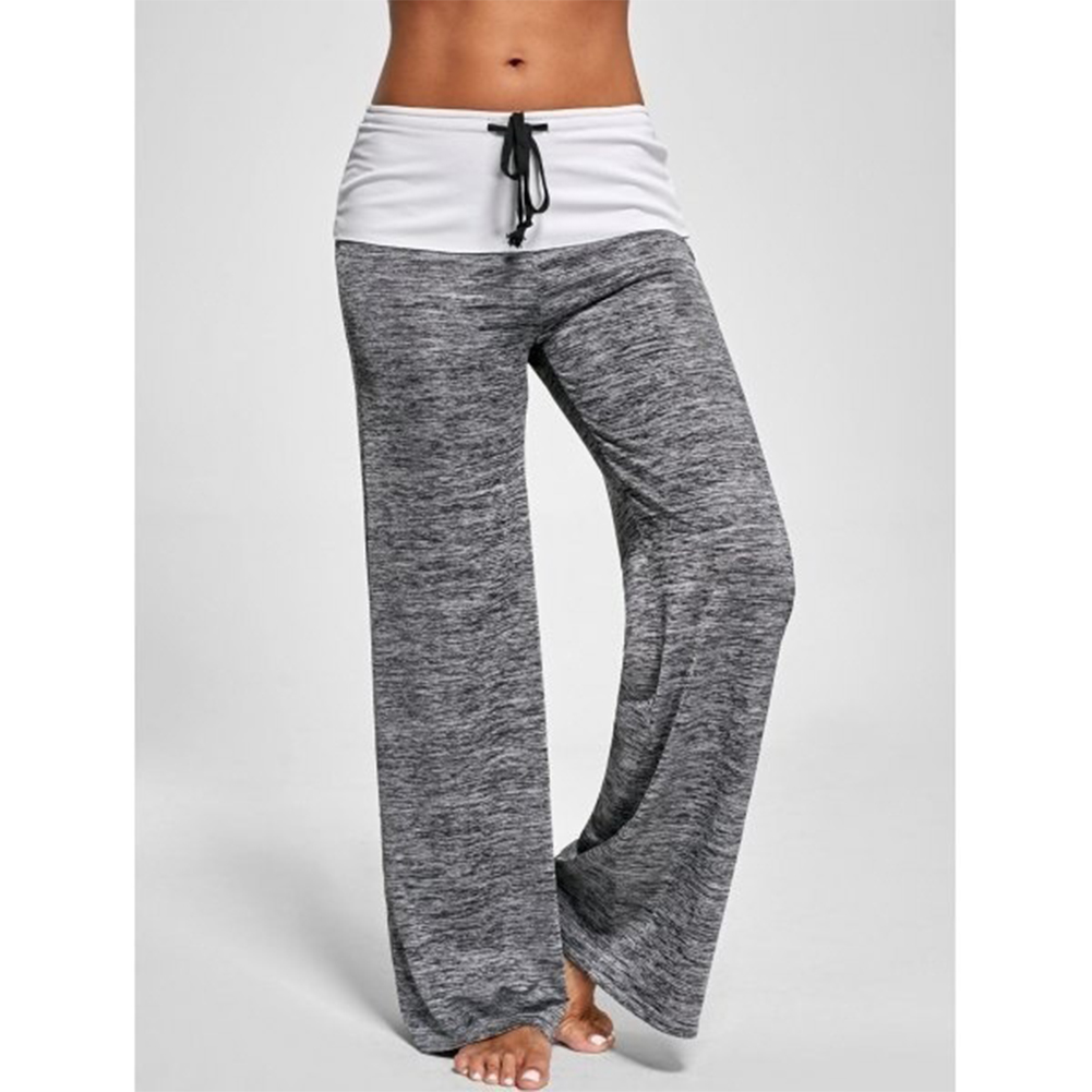 Women Casual Loose Pants Wide Trouser Legs for Yoga Sports  gray_M