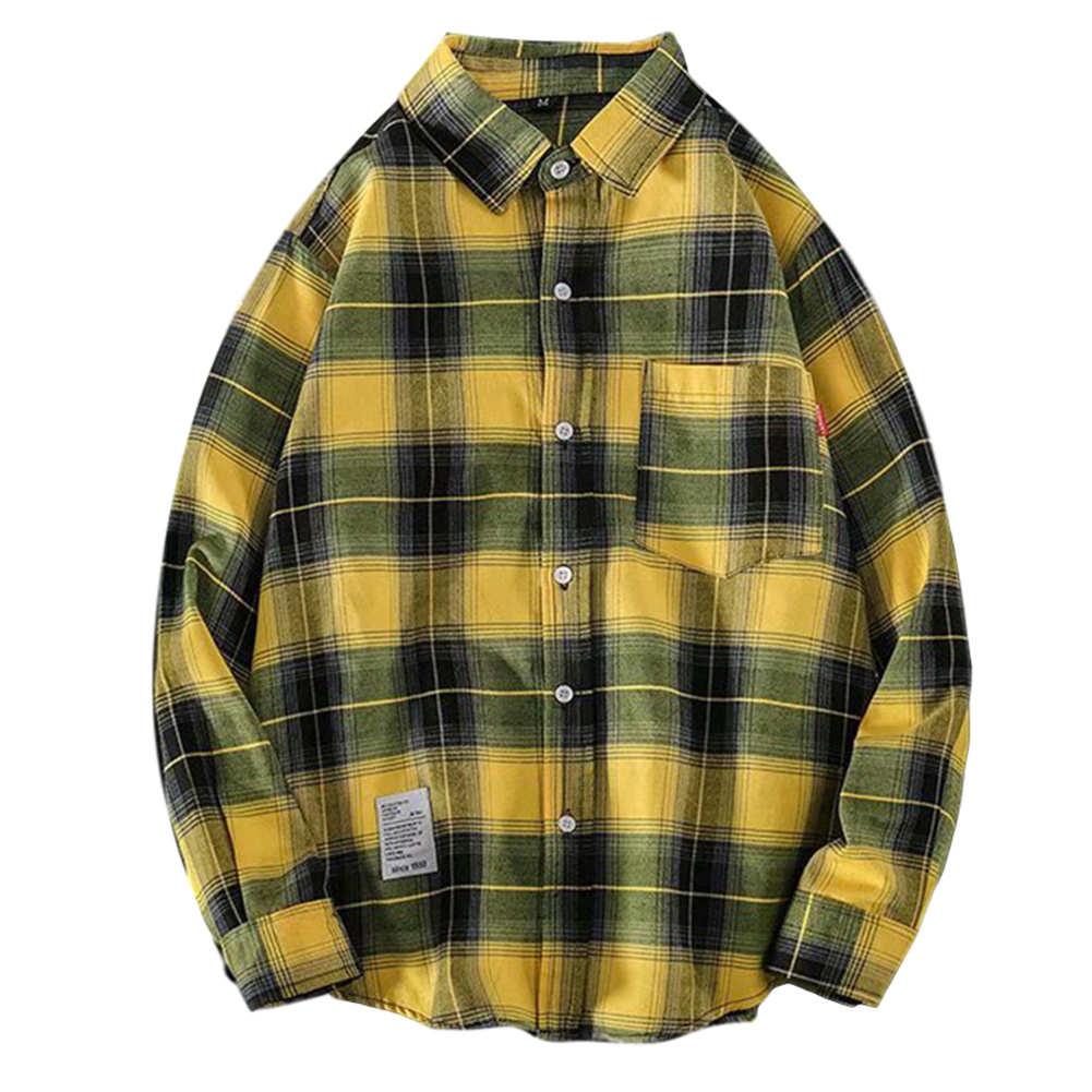 Men's Shirt Casual Long-sleeved Lapel Plaid Pattern Slim Shirt Yellow _XL