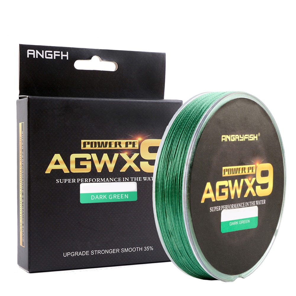 ANGRYFISH Diominate X9 PE Line 9 Strands Weaves Braided 300m/327yds Super Strong Fishing Line 15LB-100LB Dark Green 0.4#: 0.10mm/15LB