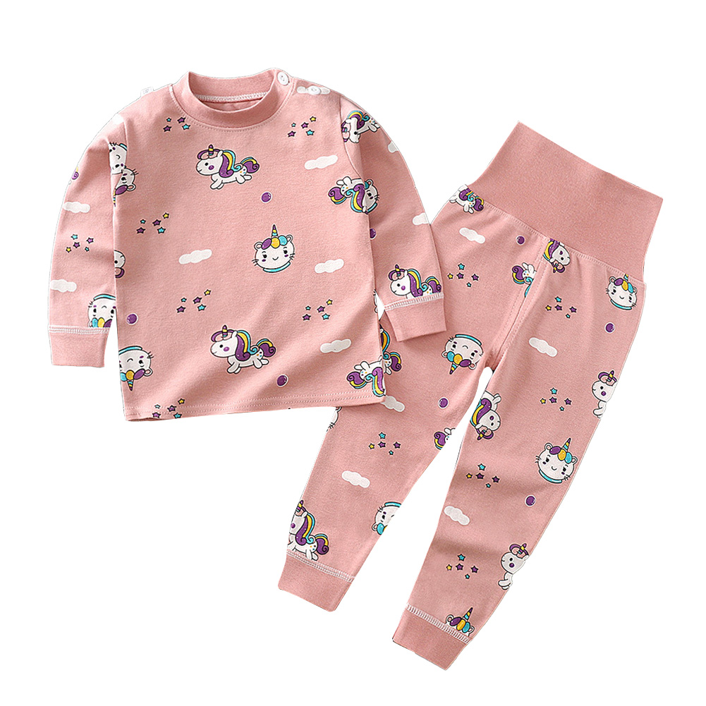 2 Pcs/set Children's Underwear Set Cotton Long-sleeve Top + High-waist Belly-protecting Pants for 0-4 Years Old Kids Pink _80