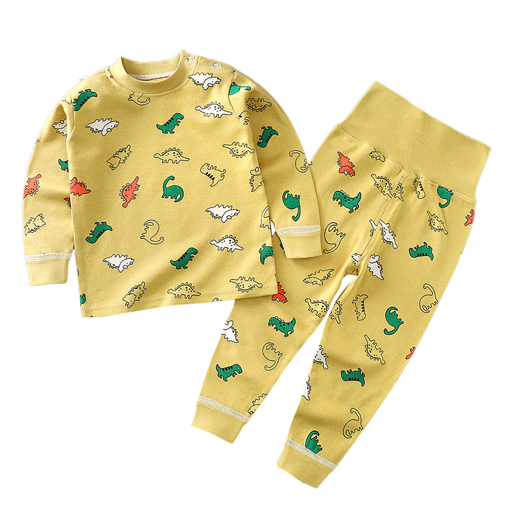2 Pcs/set Children's Underwear Set Cotton Long-sleeve Top + High-waist Belly-protecting Pants for 0-4 Years Old Kids Yellow _80