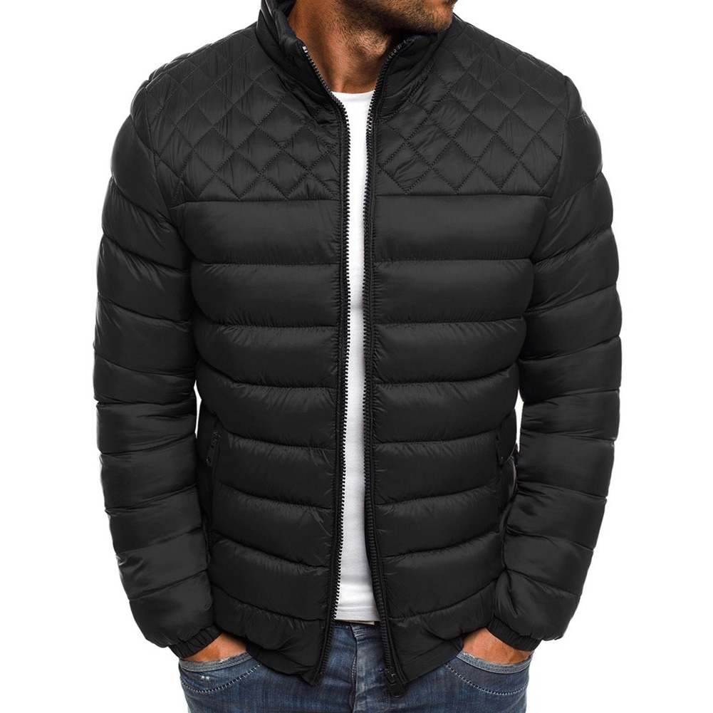 Men's Cotton Padded Clothes Chest Diamond-pattern Zipper Stitching Coat Black _M
