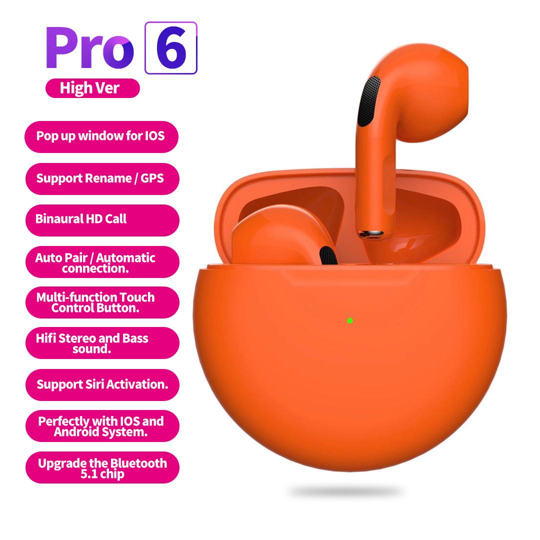 Tws Wireless  Earphones For Iphone Sports Earphones With Microphone Bass Air Pro 6 Orange