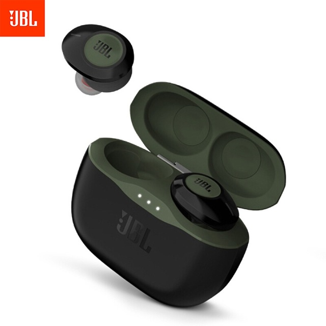 JBL T120 TWS True Wireless Bluetooth Earphones TUNE 120TWS Stereo Earbuds Bass Sound Headphones Headset with Mic Charging Case green