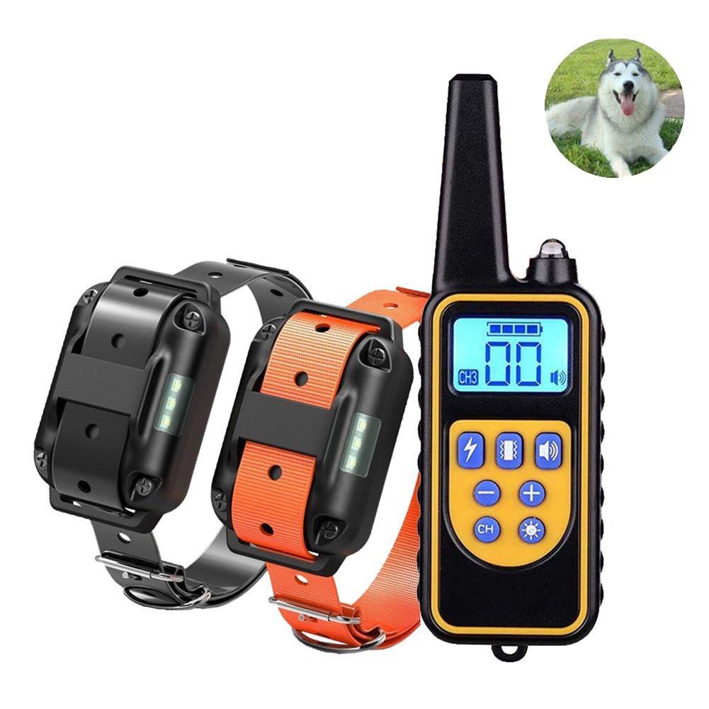 Pet Collar Bark Stopper Remote Dog  Training Device Beep  Vibration Electric Shock Collar 880-2 black orange band_European plug
