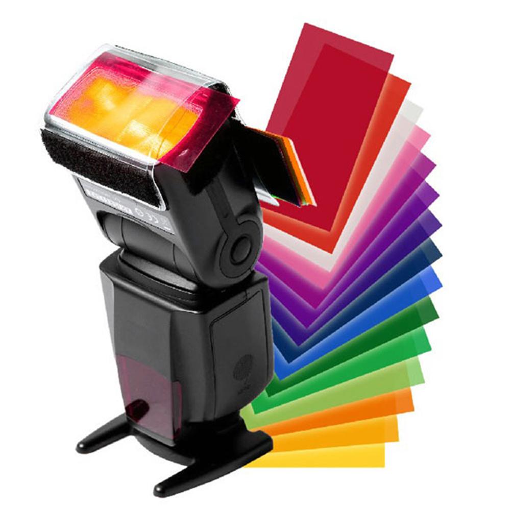 12 Pcs Universal Flash Color Card Diffuser Lighting Gel Up Filter for Camera Speedlite 12 colors