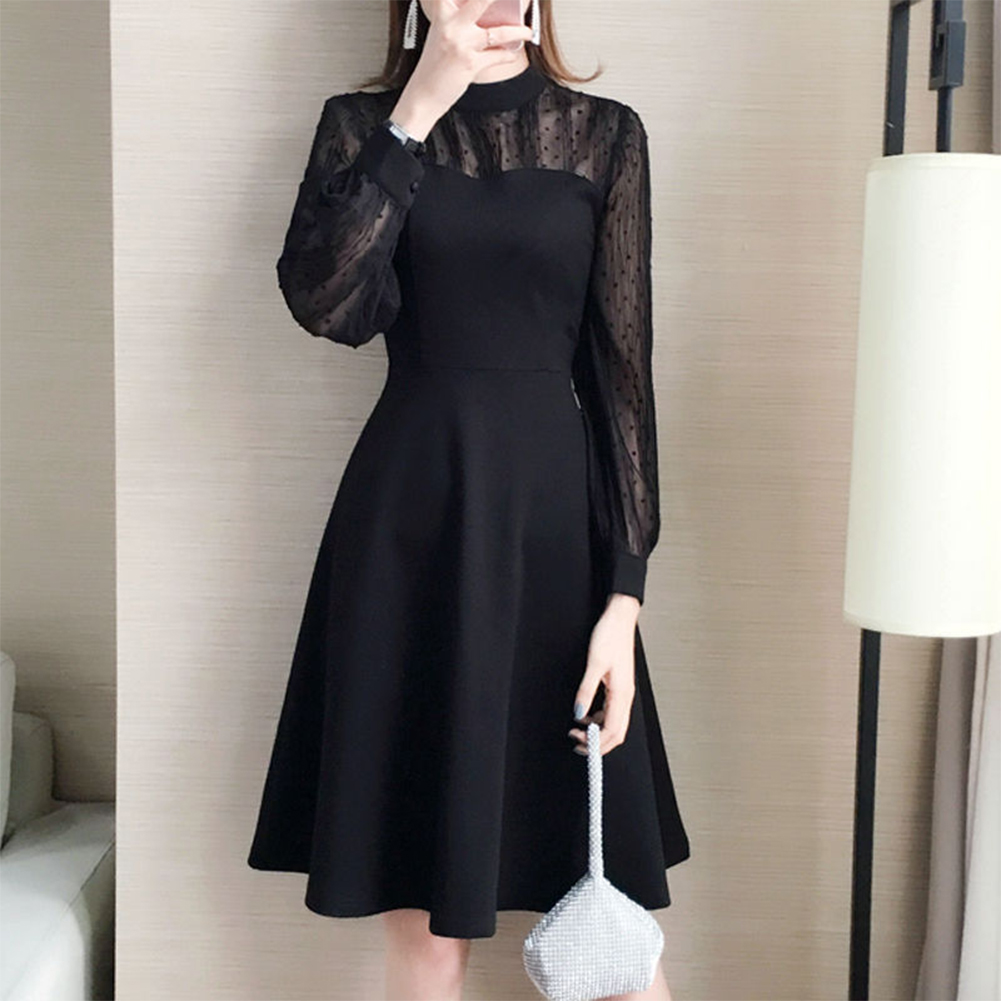See-through Shoulder Middle Length Dress Sexy Party Christmas Dress for Woman black_L