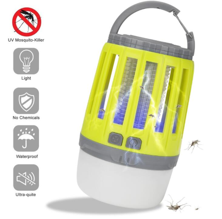 2 in 1 3.7V USB Charging LED Mosquito Killer Lamp for Outdoor Lighting yellow