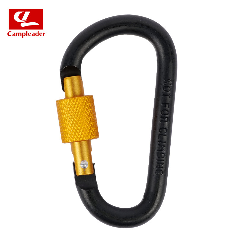 Aluminium Alloy Keychain Climbing Button Carabiner Safety Buckle Outdoor Camping Accessories black
