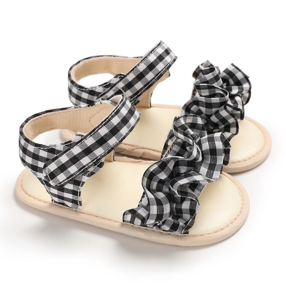 Cute Plaid Soft Rubber Sole Princess Sandals for Baby Infant Girls black_Inside length 11 cm