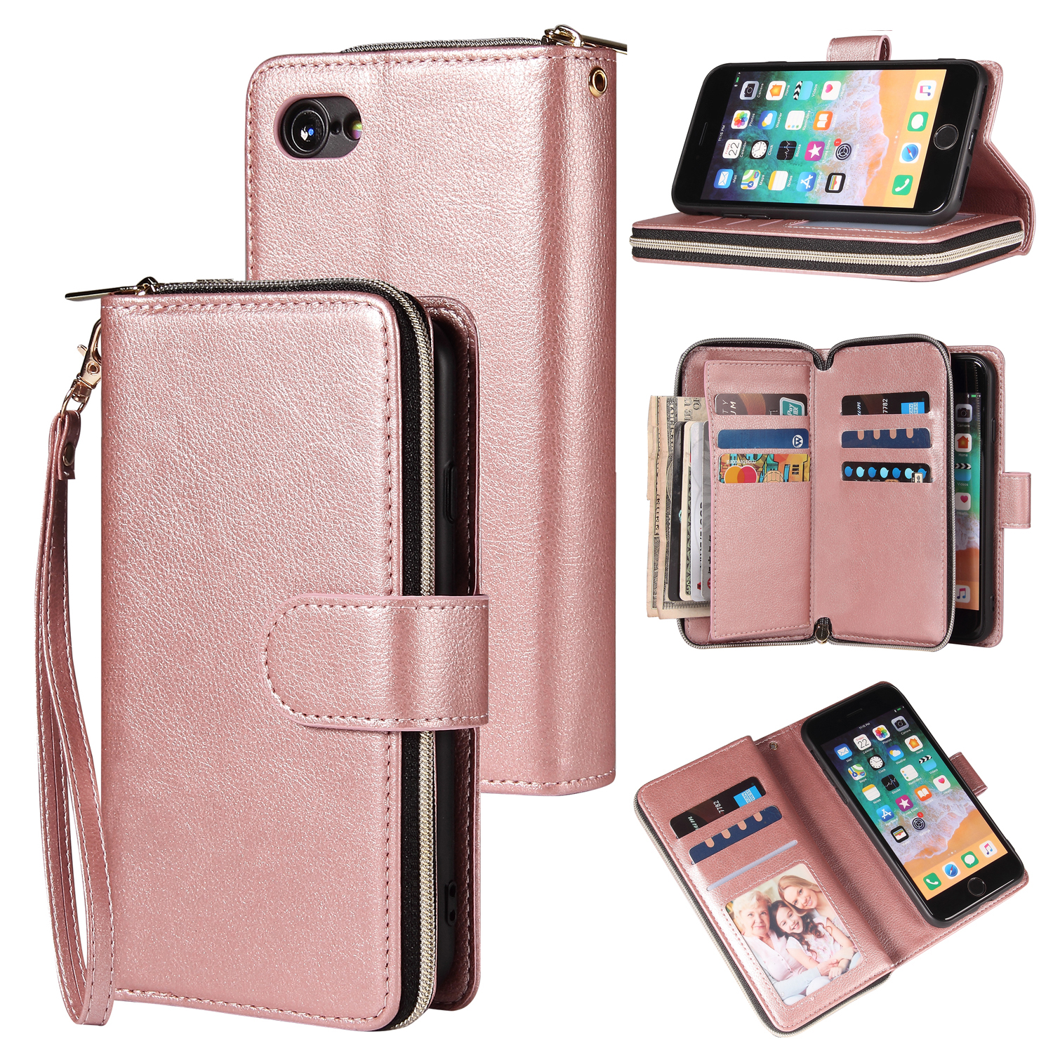 For Iphone 6/6s/6 Plus/6s Plus/7 Plus/8 Plus Pu Leather  Mobile Phone Cover Zipper Card Bag + Wrist Strap Rose gold