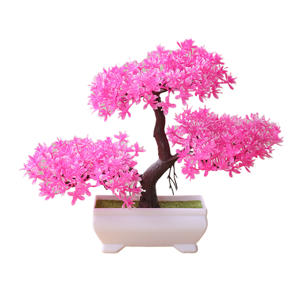 Artificial Chamaecyparis Pisifera Shape Plant Bonsai for Home Dinning Table Ornament Pink