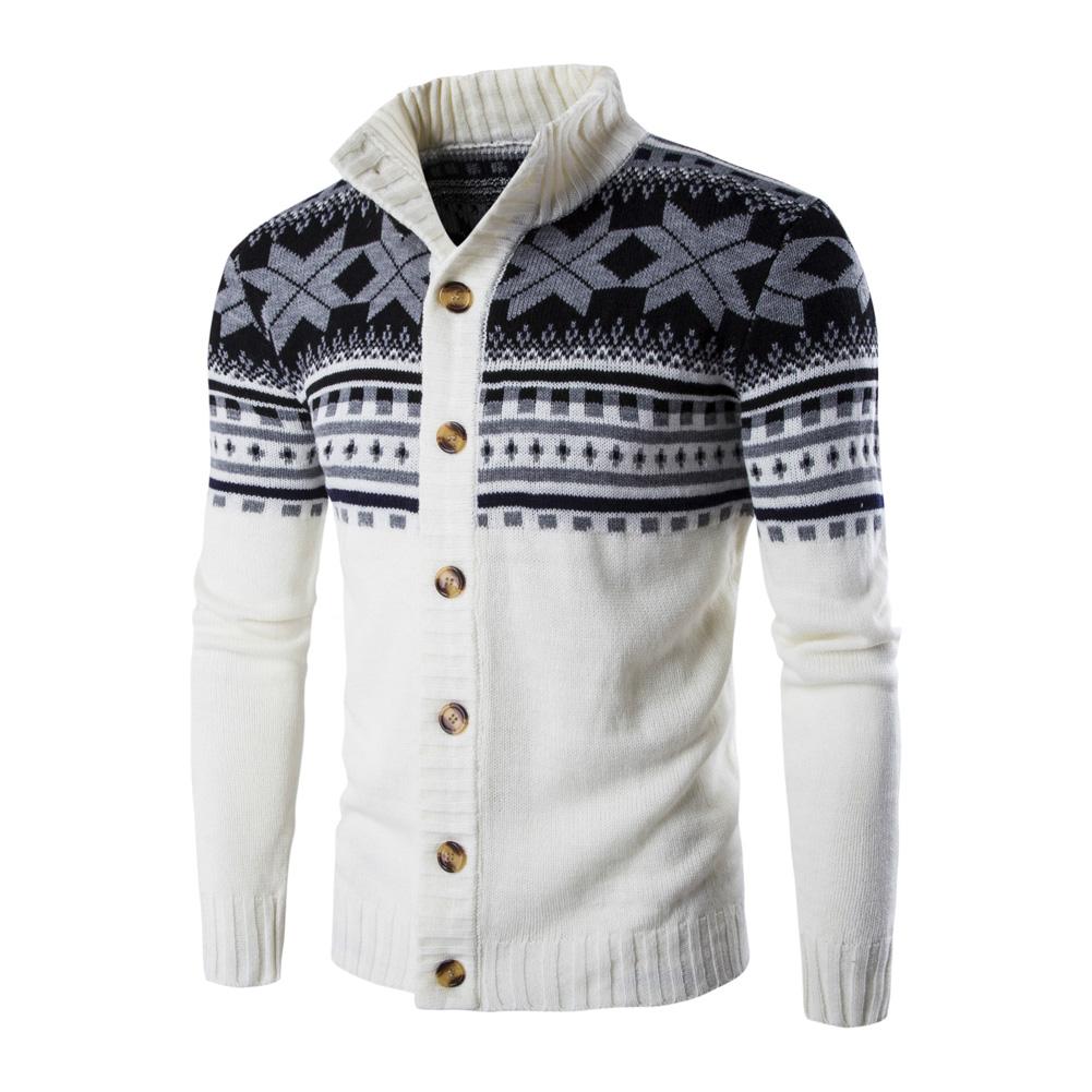 Autumn Winter Europe and America Style Christmas Male Single Jugged Base Shirt Cardigan Sweater white_M