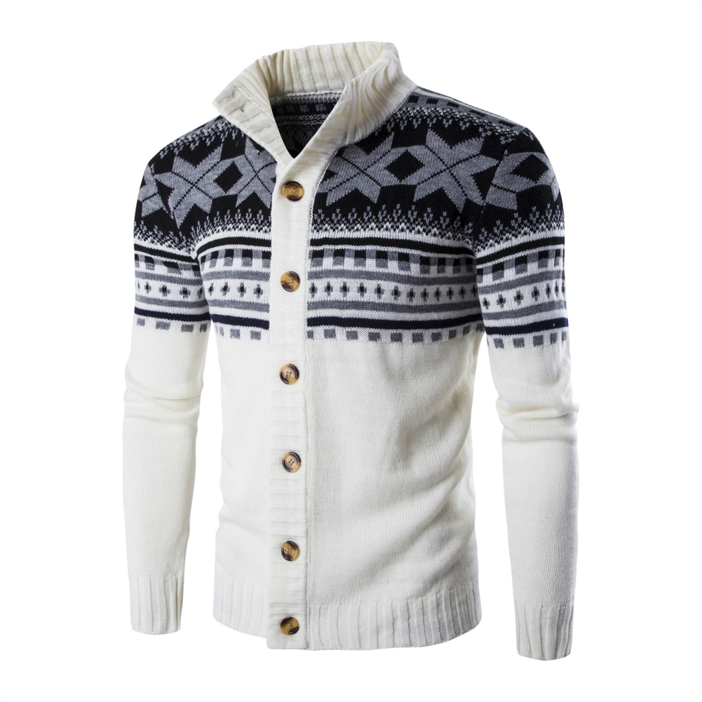 Autumn Winter Europe and America Style Christmas Male Single Jugged Base Shirt Cardigan Sweater white_L