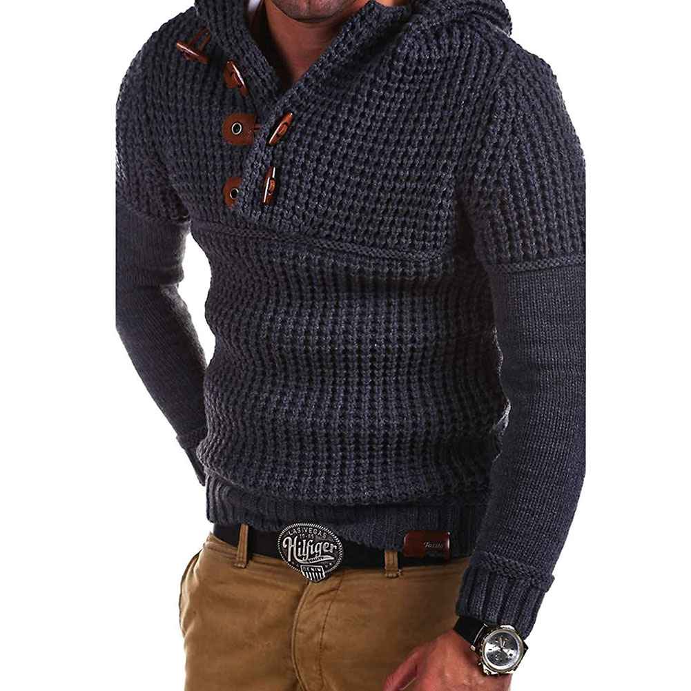 Men's Autumn Casual Long Sleeve Slim Solid Color V-neck Bottoming Shirt Sweater Horn Button Sweater Top Dark gray (black)_XXXL