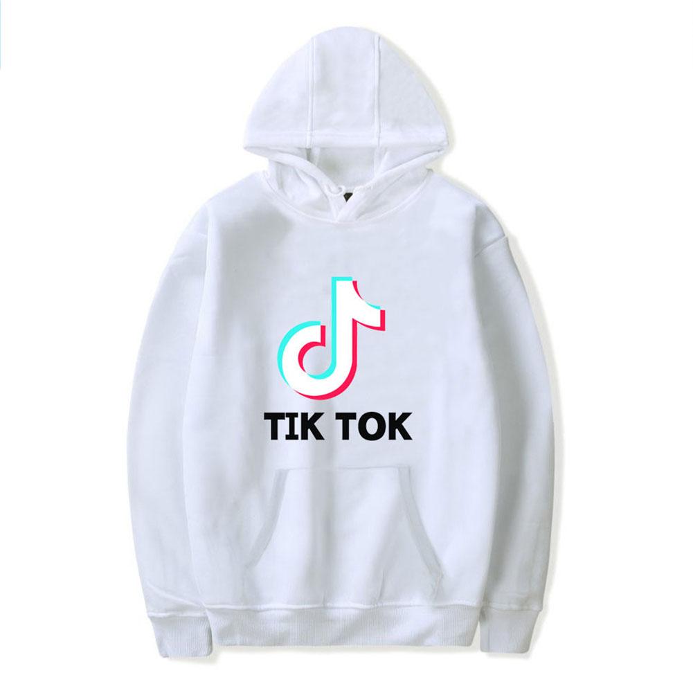 Loose Long Sleeve Tik Tok Printing Hooded Sweatshirts B white_L