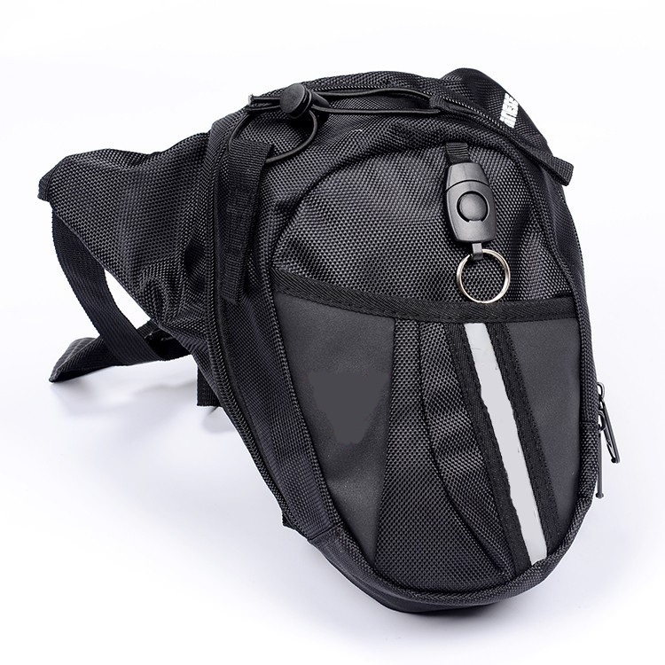 Motorcycle Leg Bag Multifunctional Waterproof Oxford Waist Pack Adjustable Belt Bag black