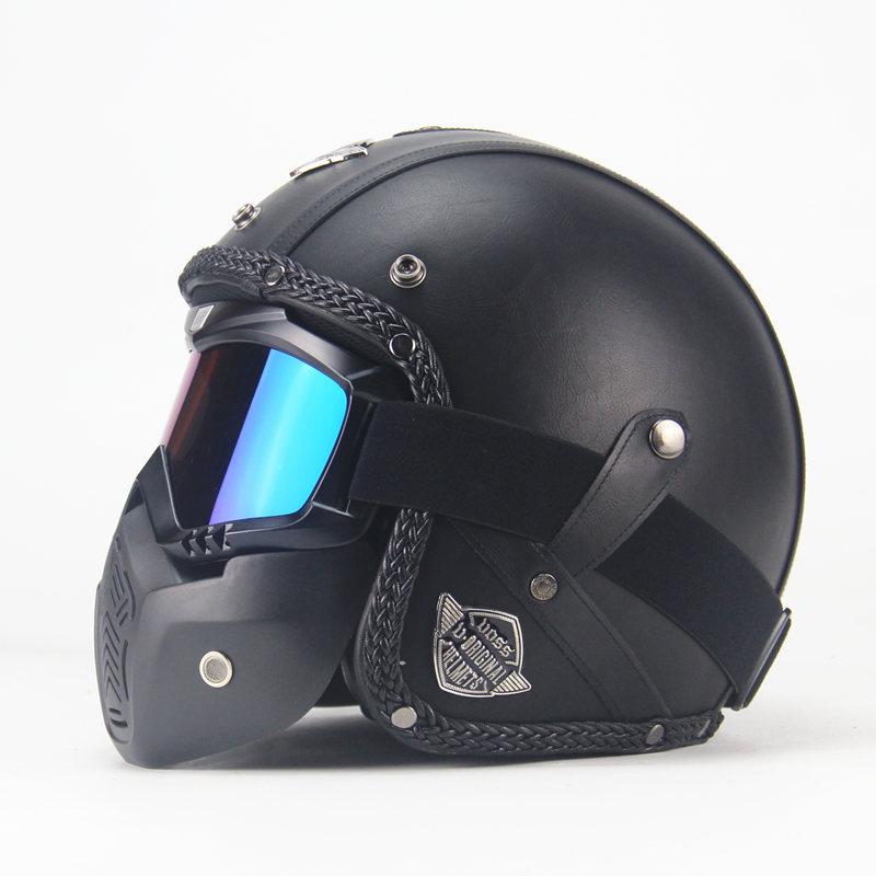 Unisex PU Leather Helmets 3/4 Motorcycle Chopper Bike Helmet Open Face Vintage Motorcycle Helmet with Goggle Mask  black_L