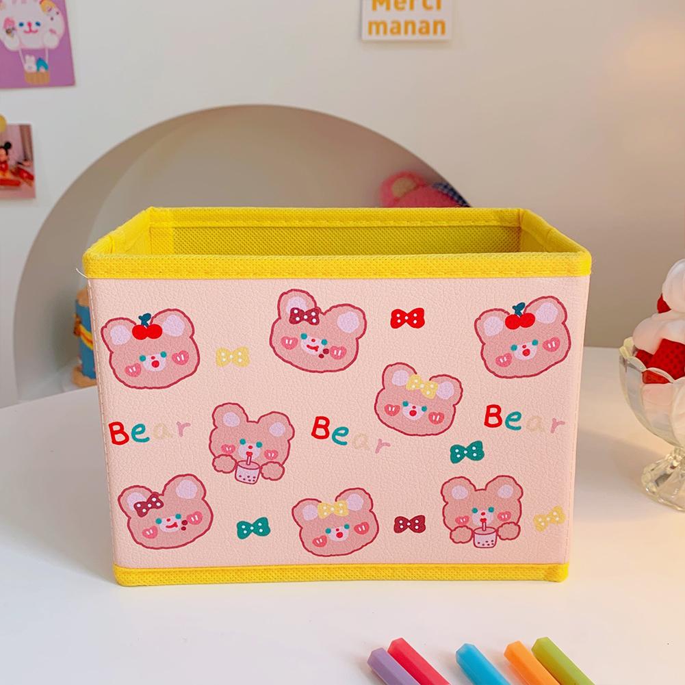 Pu  Leather  Cartoon  Storage  Box Cute Pattern Foldable Desktop Debris Sorting Storage Box 2#Soft cute bear head