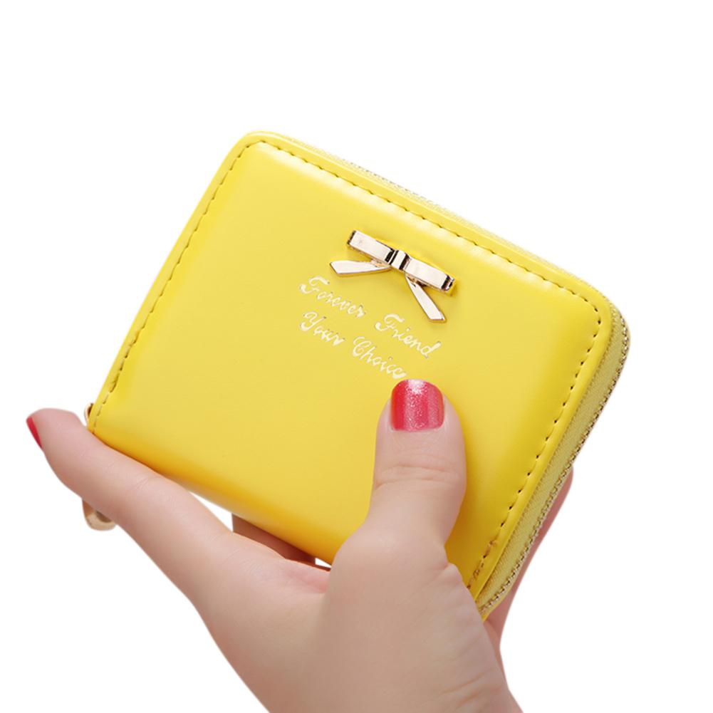 Women Simple Short-style Clutch Bag Bowknot Decoration Zipper Handbag yellow