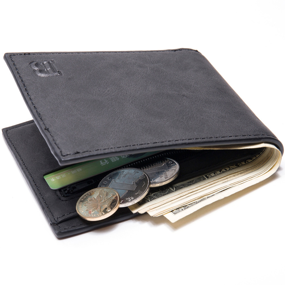 Men Wallets with Coin Bag Zipper Small Money Purses Money Clip Wallet Gift black