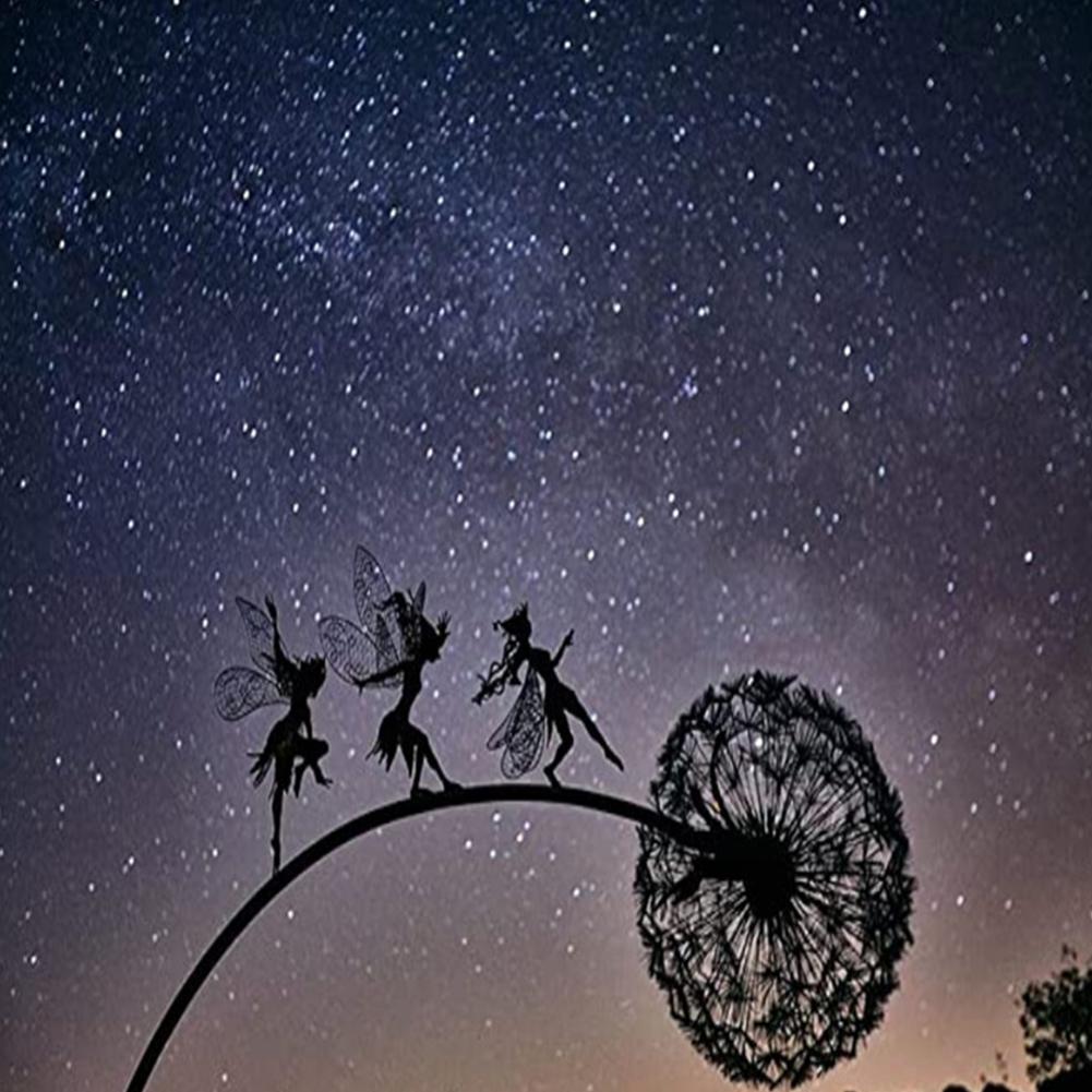 Fairy On Dandelion Statue Gardening Crafts Garden Decorative  Ornaments Three elves 4
