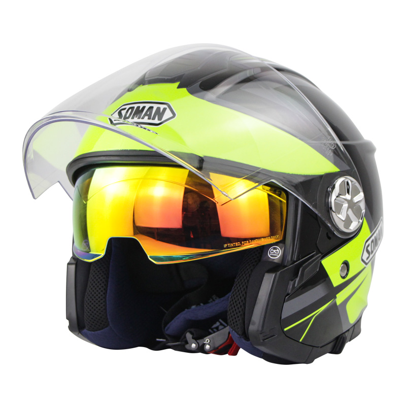 Motorcycle Helmet 3/4 Electrical Helemets Dual Visor Half Face Motorcycle Helmet   Black fluorescent green lightning_M