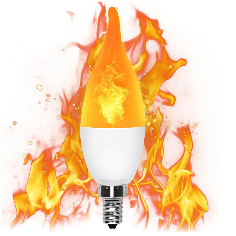 [Indonesia Direct] LED Simulate Flame Light Bulb Candle Light for Home Hotel Decoration E12/E14 85-265V Warm yellow light_E14 pull tail