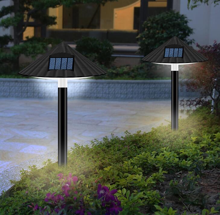 LED Solar Lawn Lamp Outdoor Waterproof Mushroom Light Control for Garden Landscape Decor White light