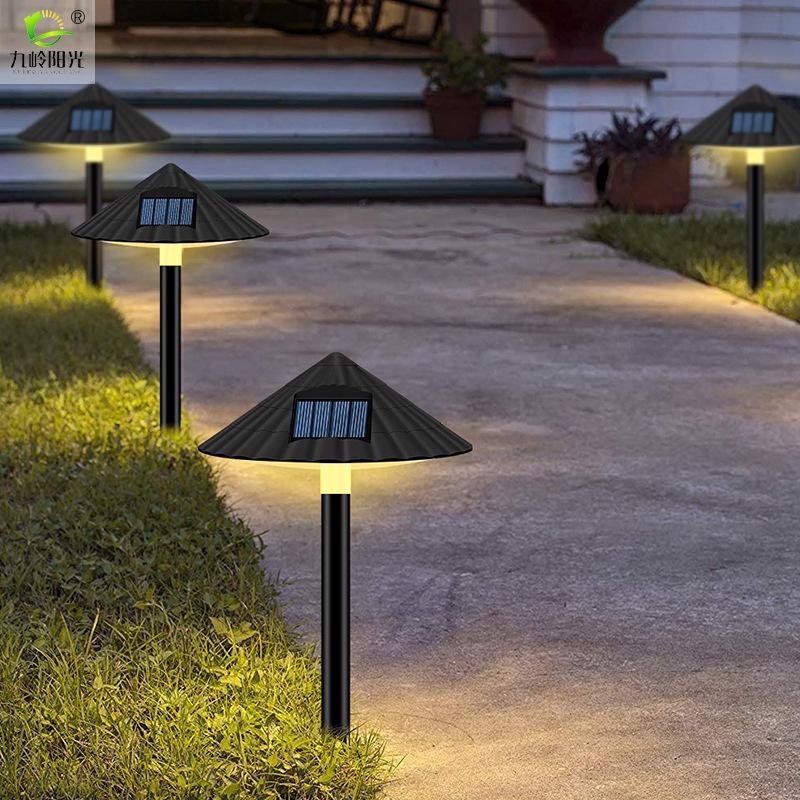 LED Solar Lawn Lamp Outdoor Waterproof Mushroom Light Control for Garden Landscape Decor warm light