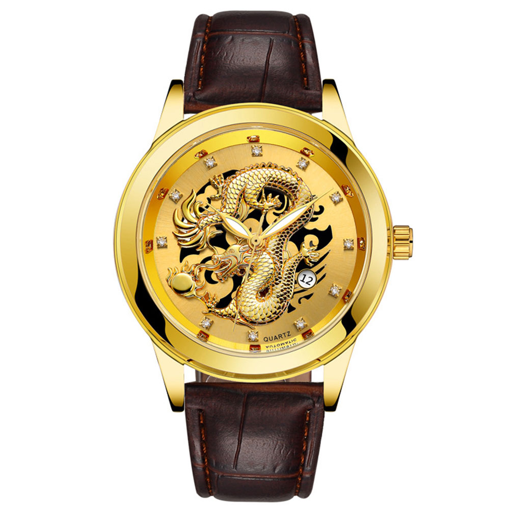 [Indonesia Direct] Men High-end Retro Quartz Watches Chic Dragon Phoenix Pattern Metal Strap Business Style Luminous Watch leather band gold surface