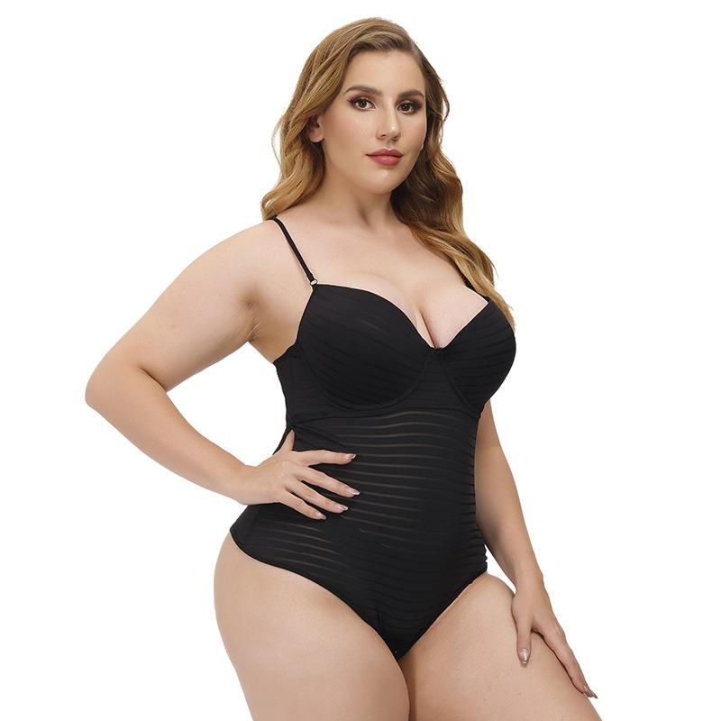 Women  Pajamas Plus Size One-piece Sexy Hollow Mesh See-through Lingerie Set Black_XXXXL