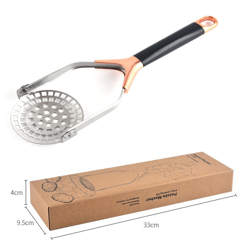 Stainless Steel Potato  Masher Household Juice Maker Potato Pusher Kitchen Accessories Electroplating rose gold