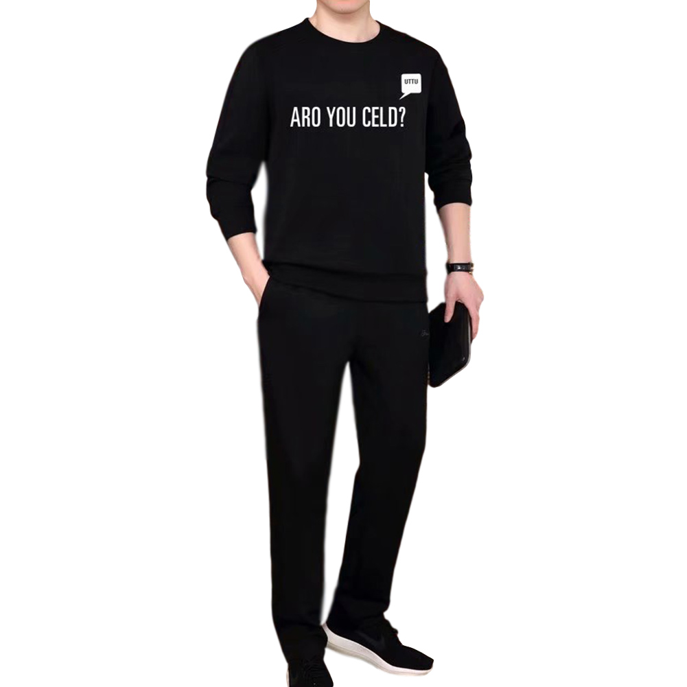 2 Pcs/set Men's Sportswear Casual Long-sleeve Top+ Trousers Sports Suit suit_M
